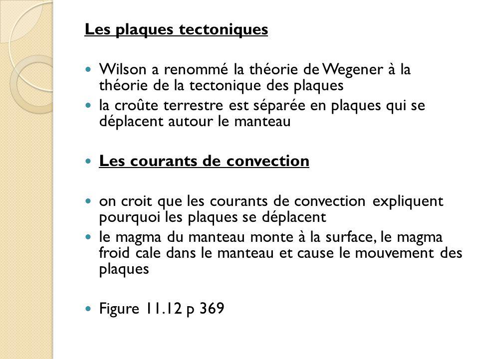 Les plaques tectoniques Wilson a renommé la théorie de Wegener à la théorie de la tectonique des plaques la croûte terrestre est séparée en plaques qu