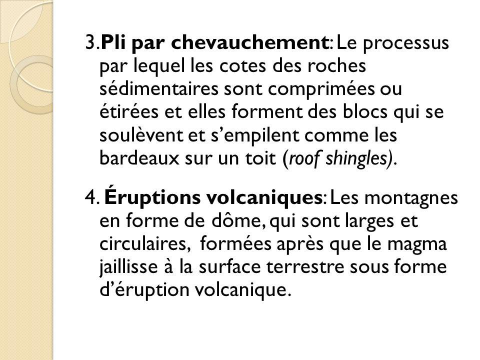 3.Pli par chevauchement: Le processus par lequel les cotes des roches sédimentaires sont comprimées ou étirées et elles forment des blocs qui se soulè
