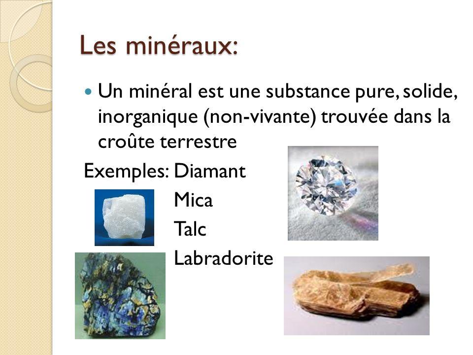 Les minéraux: Un minéral est une substance pure, solide, inorganique (non-vivante) trouvée dans la croûte terrestre Exemples:Diamant Mica Talc Labrado