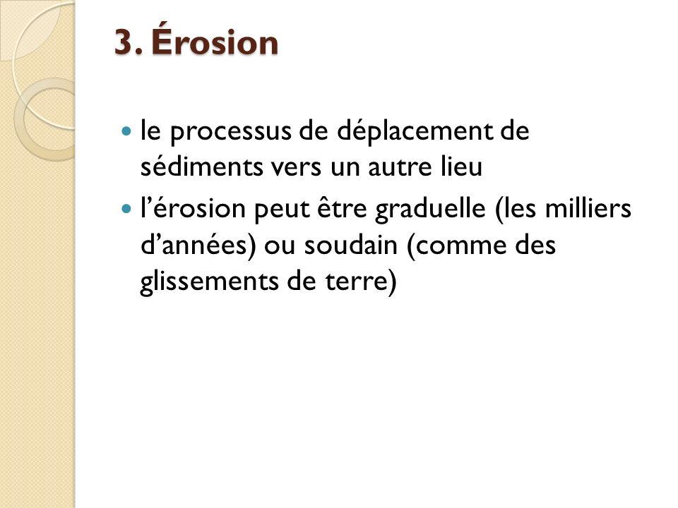 3. Érosion le processus de déplacement de sédiments vers un autre lieu lérosion peut être graduelle (les milliers dannées) ou soudain (comme des gliss