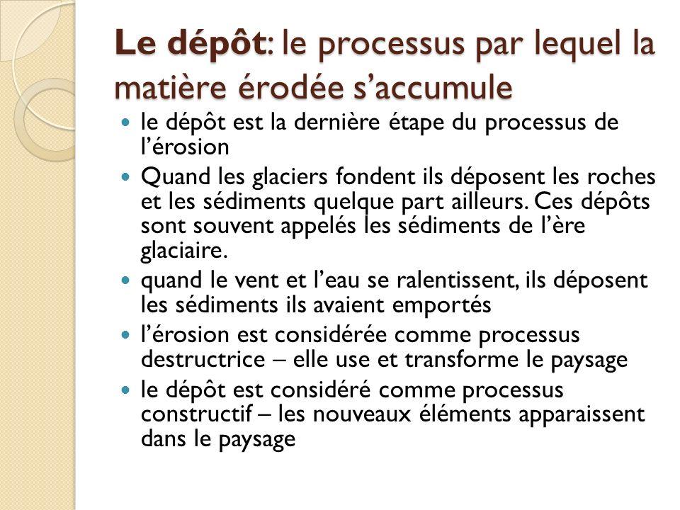 Le dépôt: le processus par lequel la matière érodée saccumule le dépôt est la dernière étape du processus de lérosion Quand les glaciers fondent ils d