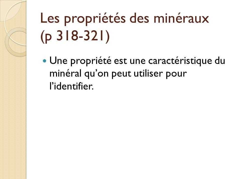 Les propriétés des minéraux (p 318-321) Une propriété est une caractéristique du minéral quon peut utiliser pour lidentifier.