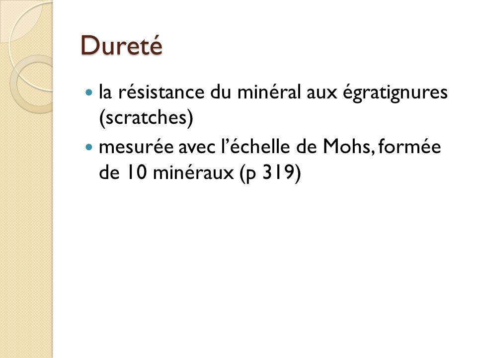 ClivageFracture quand un minéral casse en morceaux réguliers Exemples: mica galène quand un minéral casse en morceaux irréguliers Exemple:soufre quartz