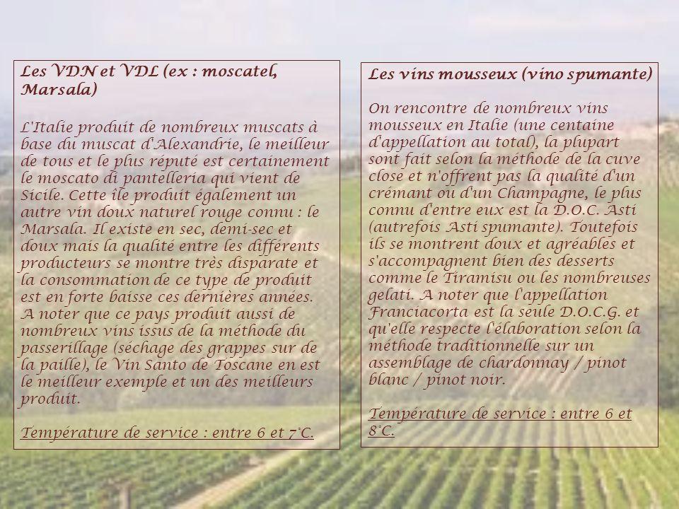 Les VDN et VDL (ex : moscatel, Marsala) L'Italie produit de nombreux muscats à base du muscat d'Alexandrie, le meilleur de tous et le plus réputé est