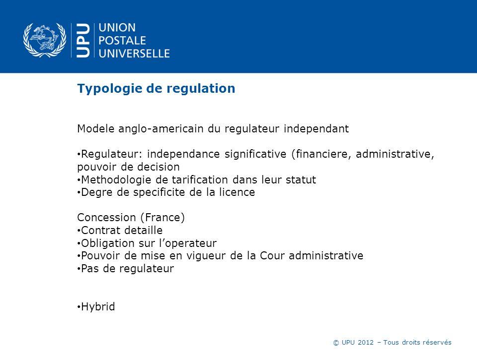 © UPU 2012 – Tous droits réservés Quel type de regulation dans votre pays .