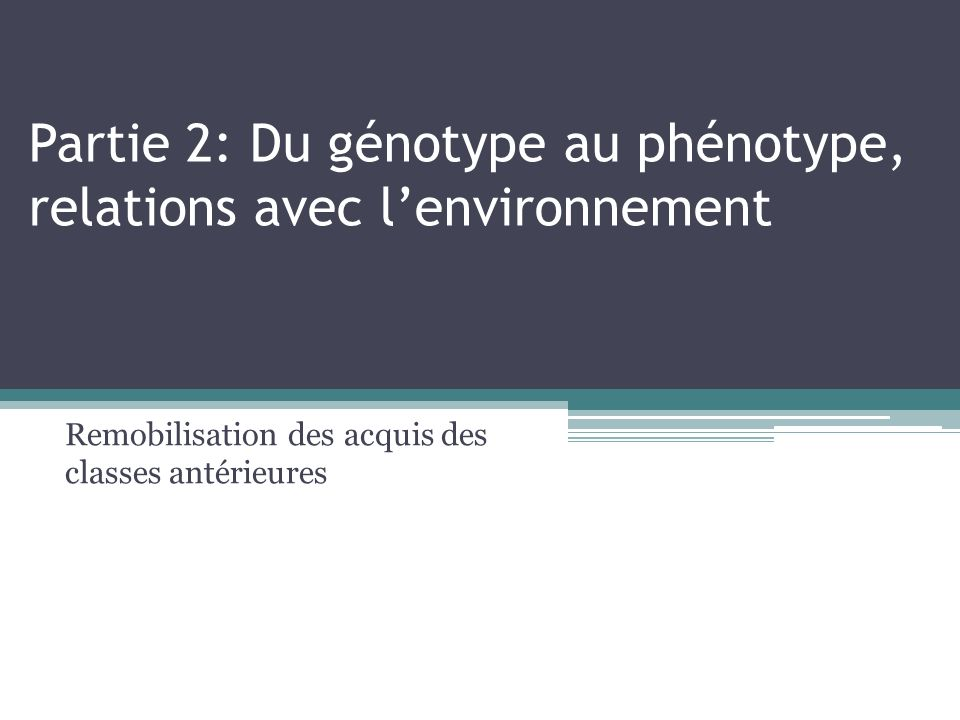 Partie 2: Du génotype au phénotype, relations avec lenvironnement Remobilisation des acquis des classes antérieures