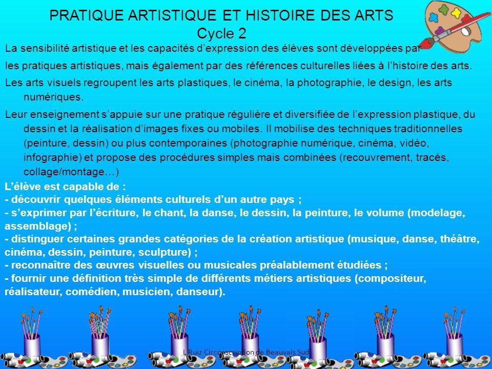 PRATIQUE ARTISTIQUE ET HISTOIRE DES ARTS Cycle 2 La sensibilité artistique et les capacités dexpression des élèves sont développées par les pratiques
