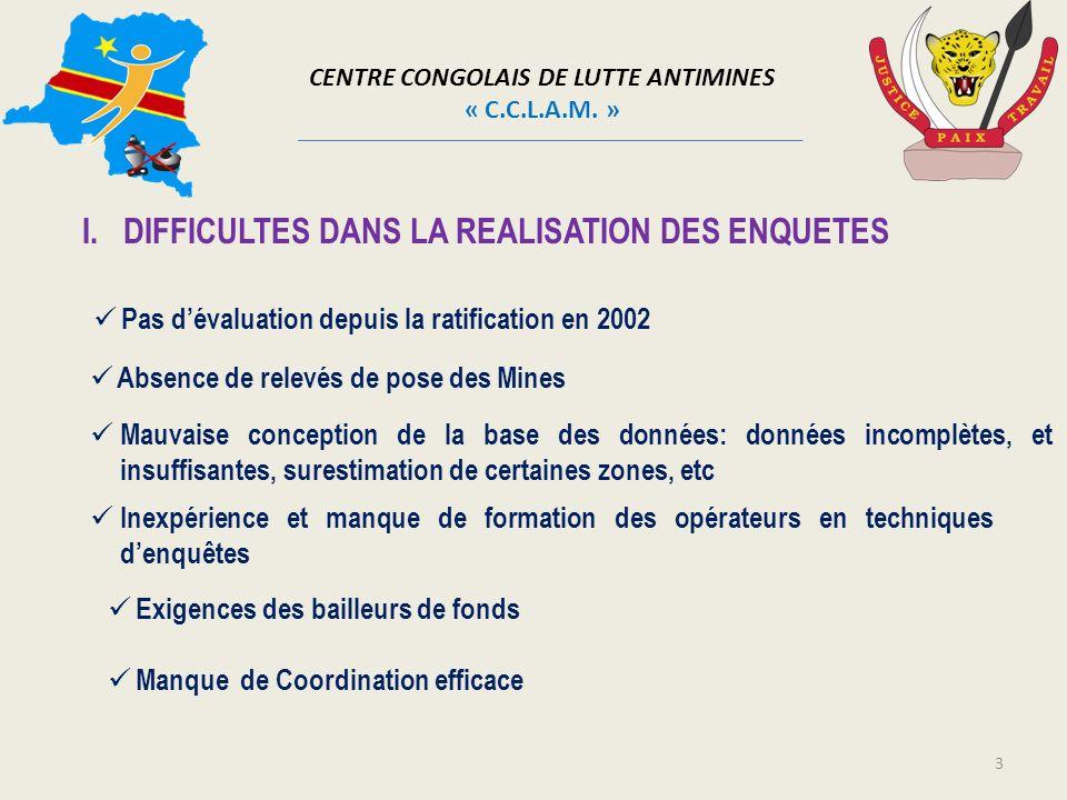 CENTRE CONGOLAIS DE LUTTE ANTIMINES « C.C.L.A.M. » I.DIFFICULTES DANS LA REALISATION DES ENQUETES 3 Pas dévaluation depuis la ratification en 2002 Mau