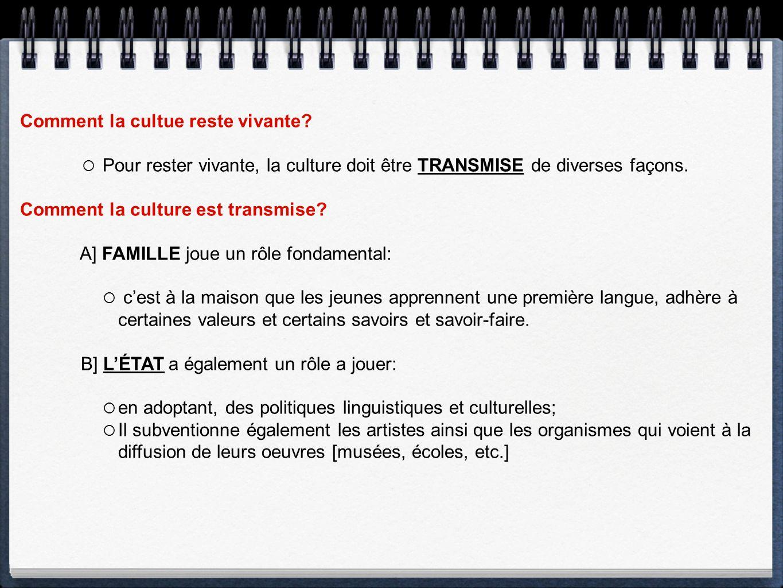 Comment la cultue reste vivante? Pour rester vivante, la culture doit être TRANSMISE de diverses façons. Comment la culture est transmise? A] FAMILLE