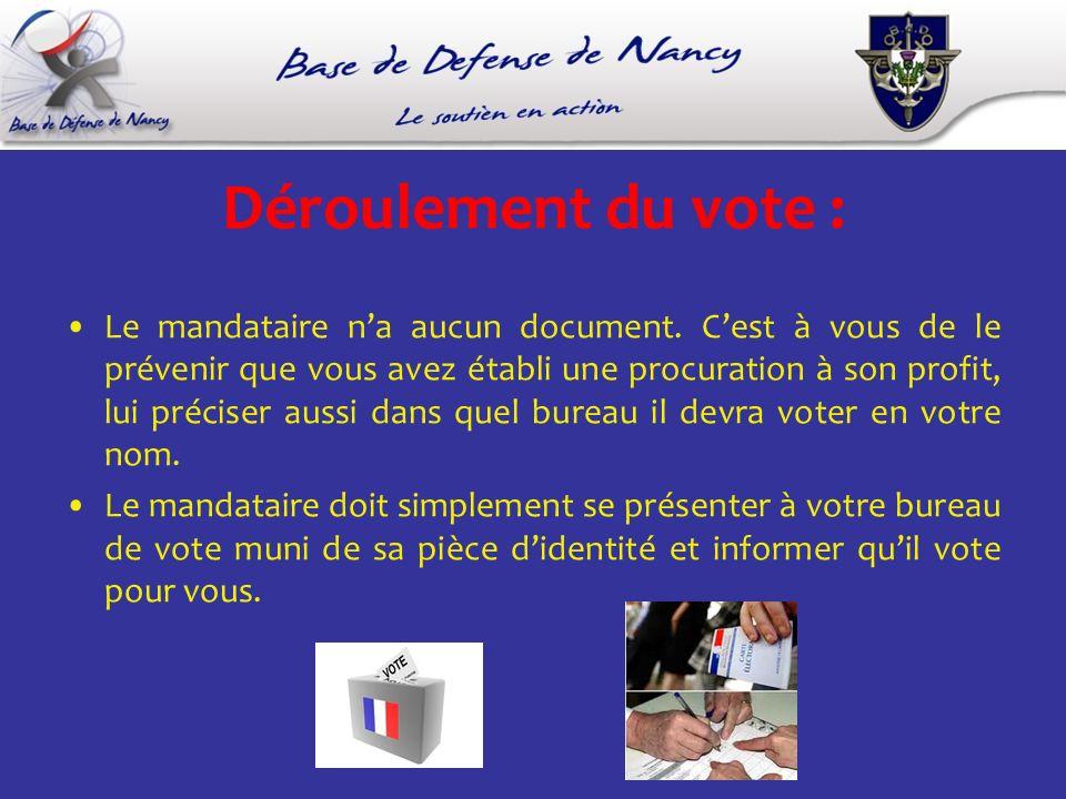 Déroulement du vote : Le mandataire na aucun document. Cest à vous de le prévenir que vous avez établi une procuration à son profit, lui préciser auss