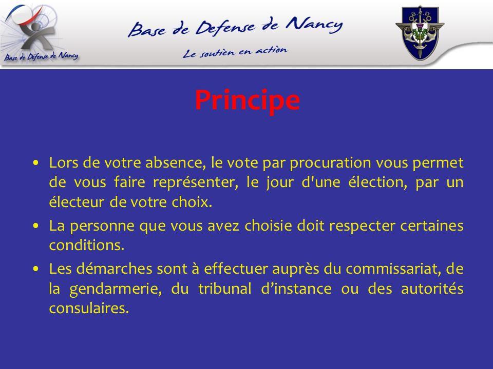 Principe Lors de votre absence, le vote par procuration vous permet de vous faire représenter, le jour d une élection, par un électeur de votre choix.