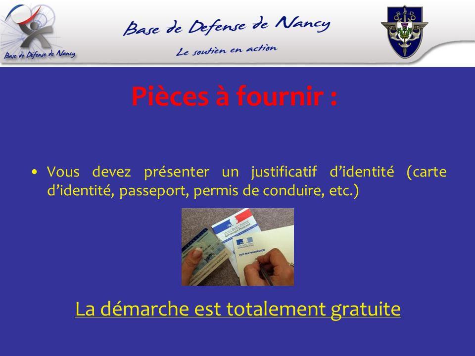 Pièces à fournir : Vous devez présenter un justificatif didentité (carte didentité, passeport, permis de conduire, etc.) La démarche est totalement gratuite