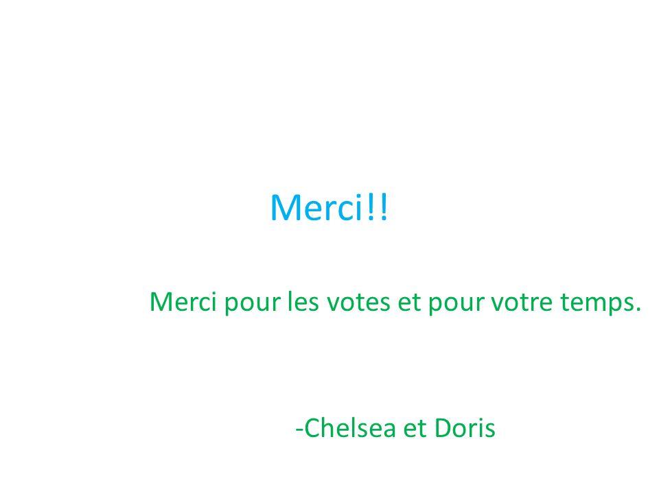Merci!! Merci pour les votes et pour votre temps. -Chelsea et Doris