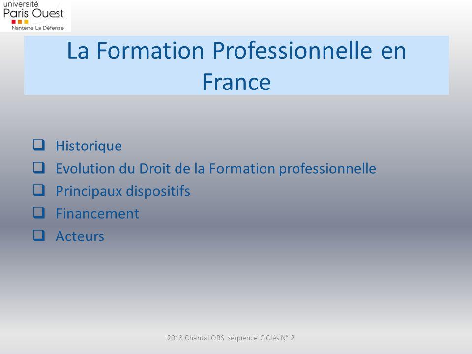 La Formation Professionnelle en France Historique Evolution du Droit de la Formation professionnelle Principaux dispositifs Financement Acteurs 2013 C