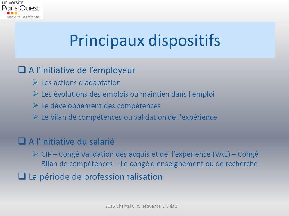 Principaux dispositifs A linitiative de lemployeur Les actions d'adaptation Les évolutions des emplois ou maintien dans l'emploi Le développement des