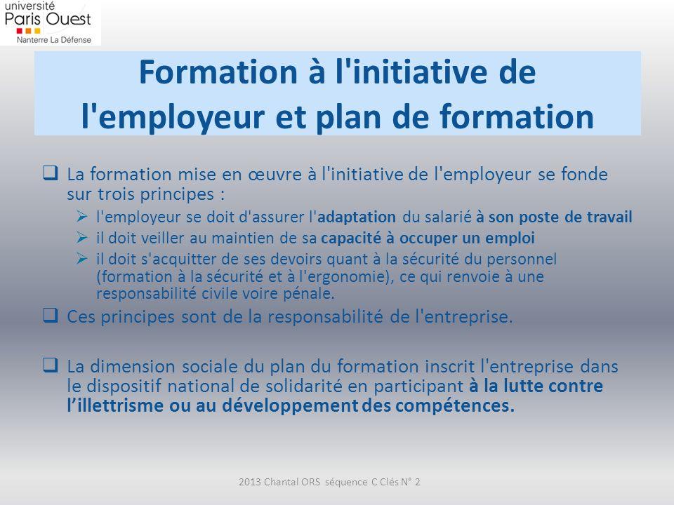 Formation à l'initiative de l'employeur et plan de formation La formation mise en œuvre à l'initiative de l'employeur se fonde sur trois principes : l