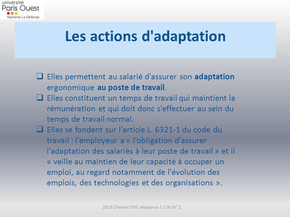 Les actions d'adaptation 2013 Chantal ORS séquence C Clés N° 2 Elles permettent au salarié d'assurer son adaptation ergonomique au poste de travail. E