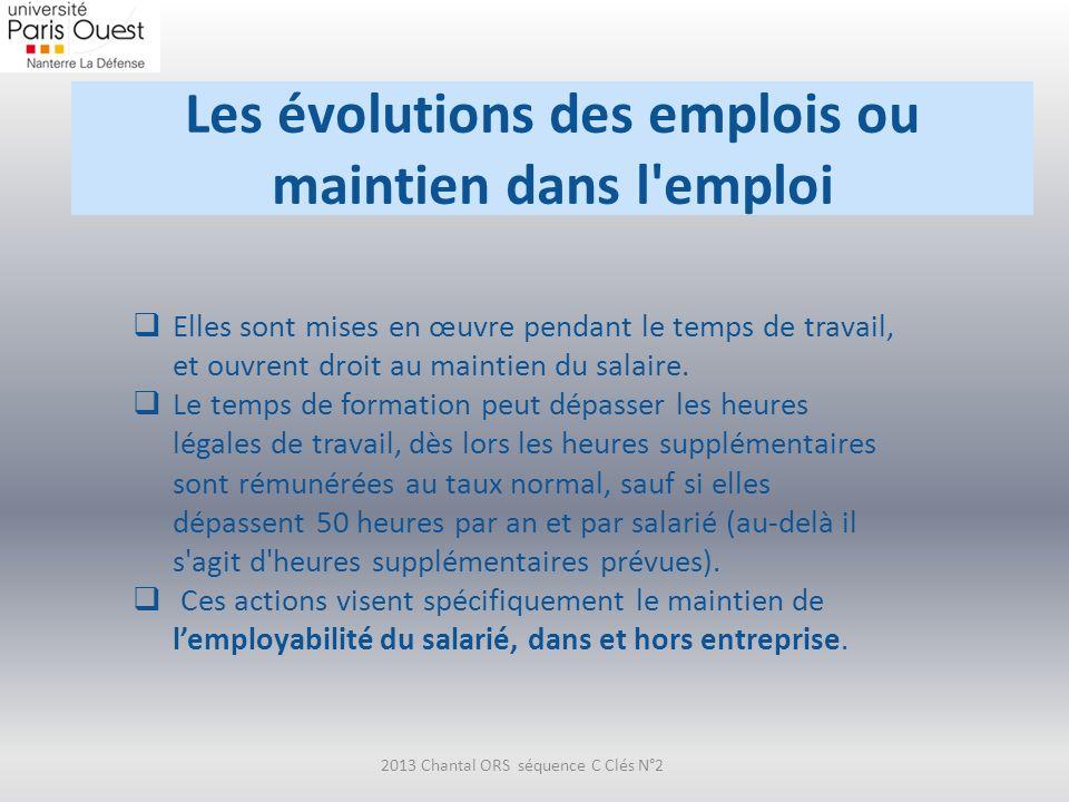 Les évolutions des emplois ou maintien dans l'emploi 2013 Chantal ORS séquence C Clés N°2 Elles sont mises en œuvre pendant le temps de travail, et ou