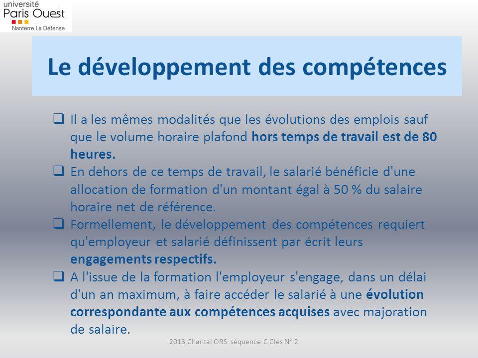 Le développement des compétences 2013 Chantal ORS séquence C Clés N° 2 Il a les mêmes modalités que les évolutions des emplois sauf que le volume hora
