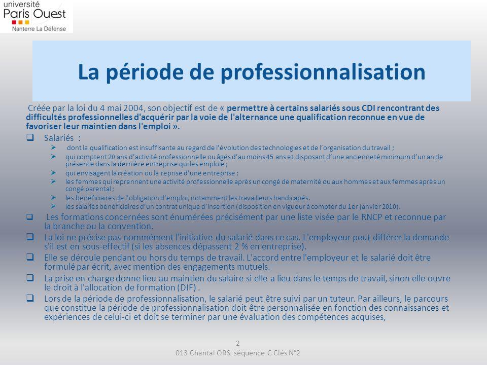 La période de professionnalisation Créée par la loi du 4 mai 2004, son objectif est de « permettre à certains salariés sous CDI rencontrant des diffic