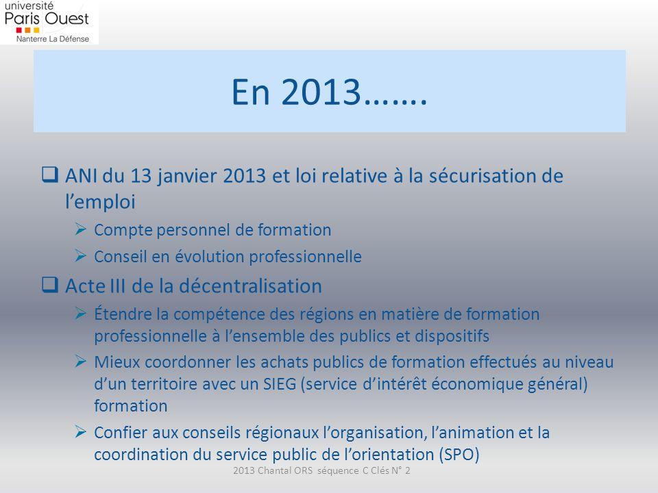 En 2013……. ANI du 13 janvier 2013 et loi relative à la sécurisation de lemploi Compte personnel de formation Conseil en évolution professionnelle Acte
