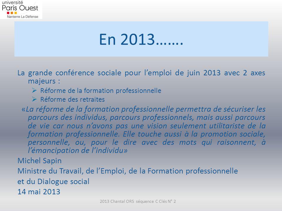 En 2013……. La grande conférence sociale pour lemploi de juin 2013 avec 2 axes majeurs : Réforme de la formation professionnelle Réforme des retraites