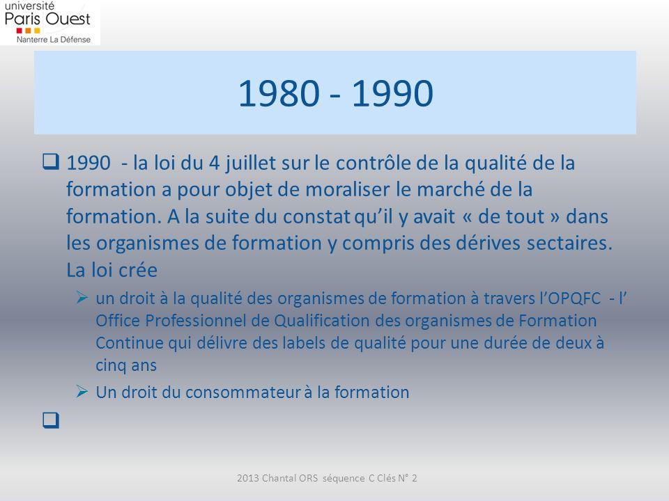 1980 - 1990 1990 - la loi du 4 juillet sur le contrôle de la qualité de la formation a pour objet de moraliser le marché de la formation. A la suite d