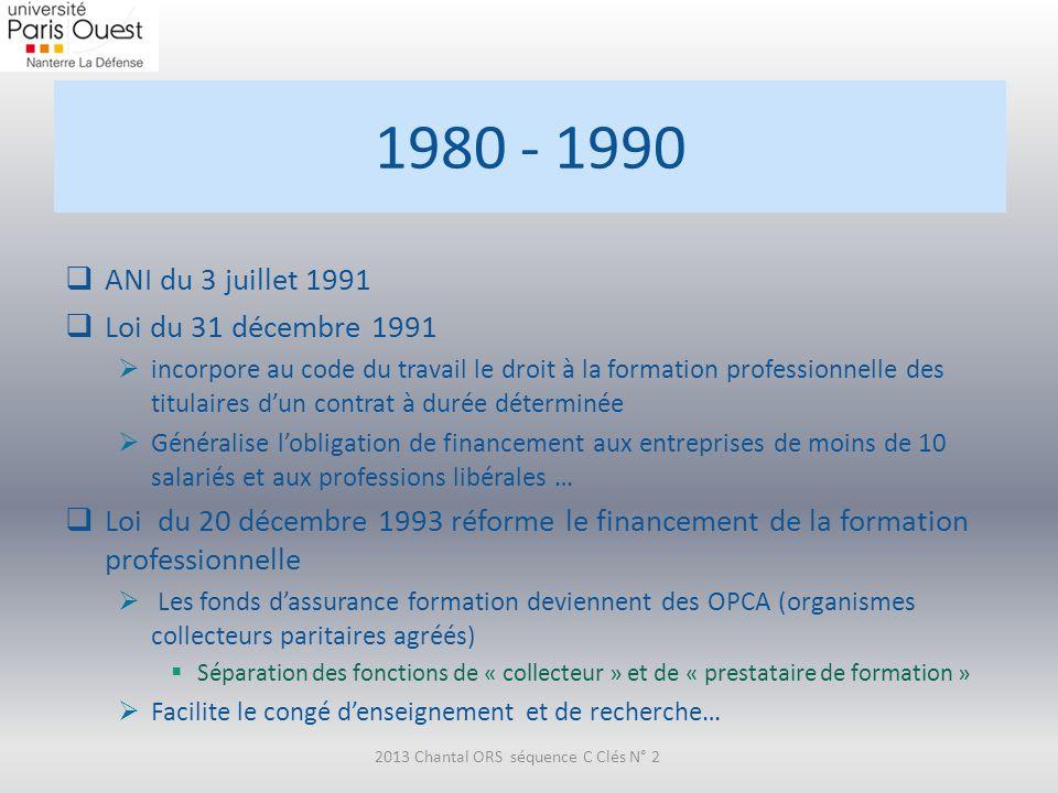 1980 - 1990 ANI du 3 juillet 1991 Loi du 31 décembre 1991 incorpore au code du travail le droit à la formation professionnelle des titulaires dun cont