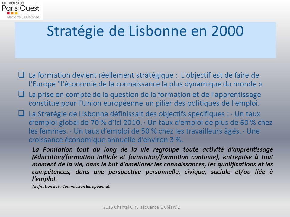 Stratégie de Lisbonne en 2000 La formation devient réellement stratégique : L'objectif est de faire de l'Europe