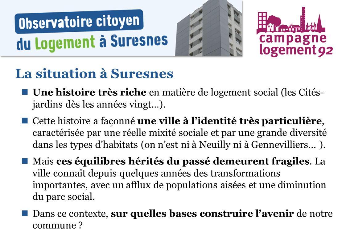 La situation à Suresnes Une histoire très riche en matière de logement social (les Cités- jardins dès les années vingt…). Cette histoire a façonné une