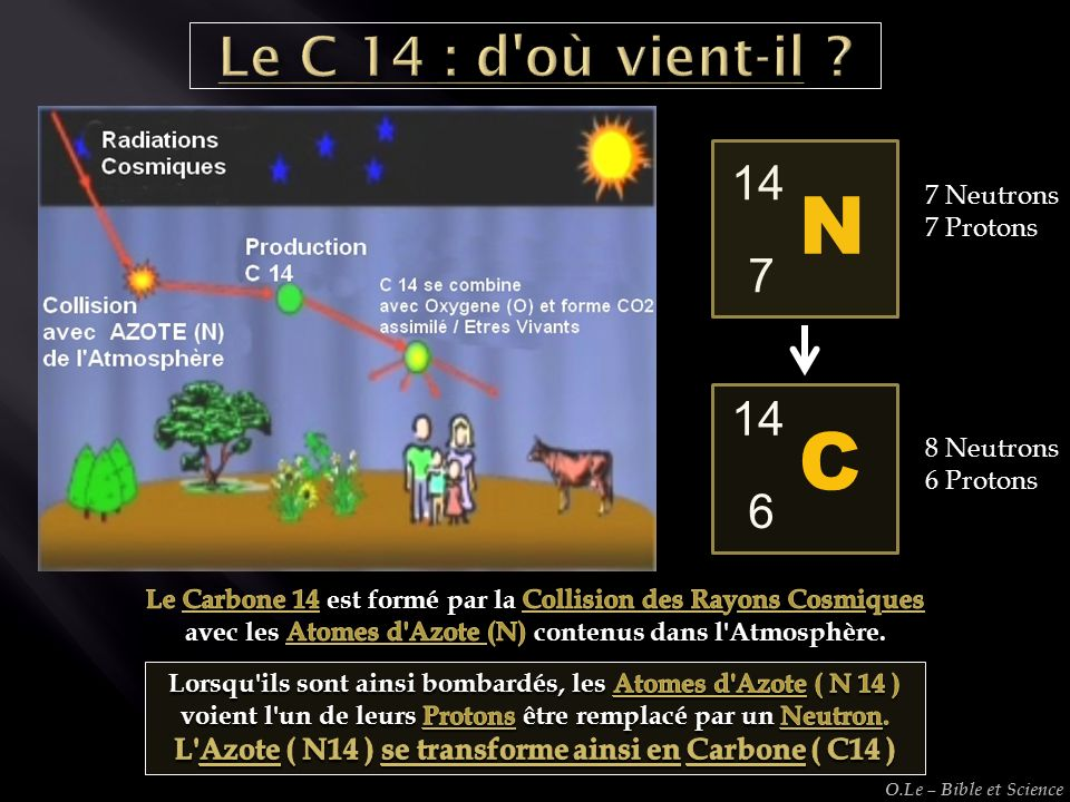 N 7 14 C 614 7 Neutrons 7 Protons 8 Neutrons 6 Protons O.Le – Bible et Science