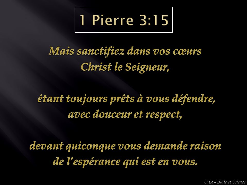 2 Heures 1 Heure O.Le – Bible et Science