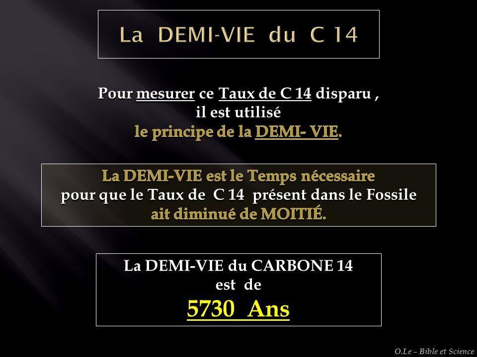 La DEMI-VIE du CARBONE 14 est de 5730 Ans O.Le – Bible et Science