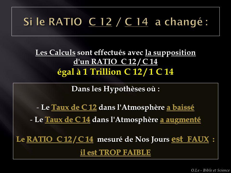 Les Calculs sont effectués avec la supposition d'un RATIO C 12 / C 14 égal à 1 Trillion C 12 / 1 C 14 O.Le – Bible et Science