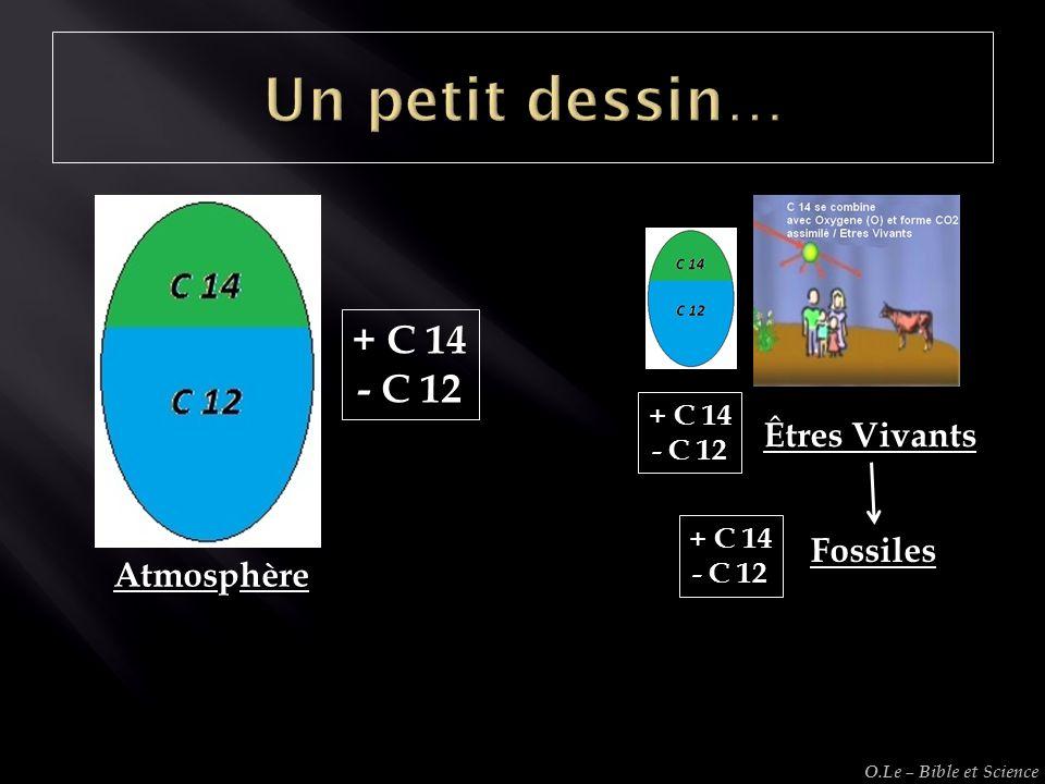 + C 14 - C 12 Atmosphère Êtres Vivants + C 14 - C 12 Fossiles + C 14 - C 12 O.Le – Bible et Science