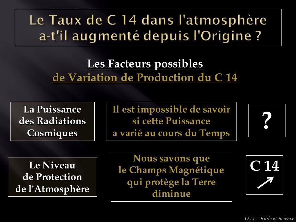 Les Facteurs possibles de Variation de Production du C 14 La Puissance des Radiations Cosmiques Le Niveau de Protection de l'Atmosphère Il est impossi