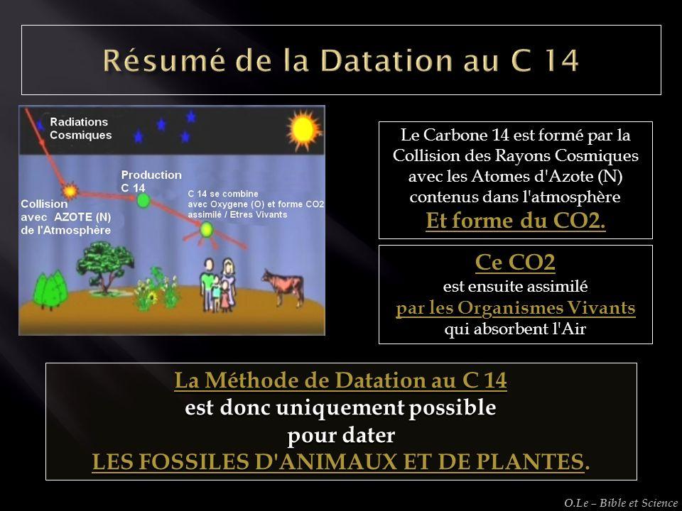Le Carbone 14 est formé par la Collision des Rayons Cosmiques avec les Atomes d'Azote (N) contenus dans l'atmosphère Et forme du CO2. Ce CO2 est ensui