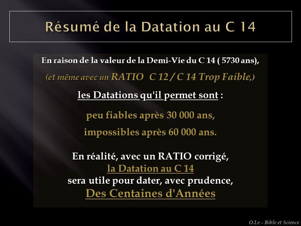 En raison de la valeur de la Demi-Vie du C 14 ( 5730 ans), (et même avec un RATIO C 12 / C 14 Trop Faible,) les Datations qu'il permet sont : peu fiab
