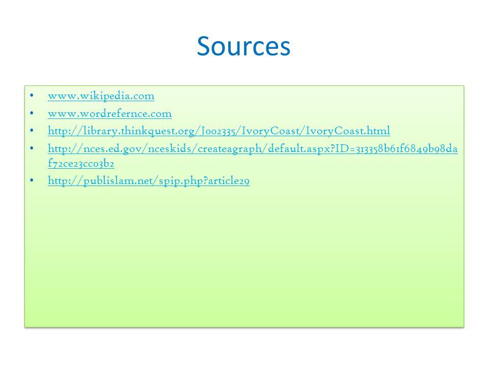 Sources www.wikipedia.com www.wordrefernce.com http://library.thinkquest.org/J002335/IvoryCoast/IvoryCoast.html http://nces.ed.gov/nceskids/createagra