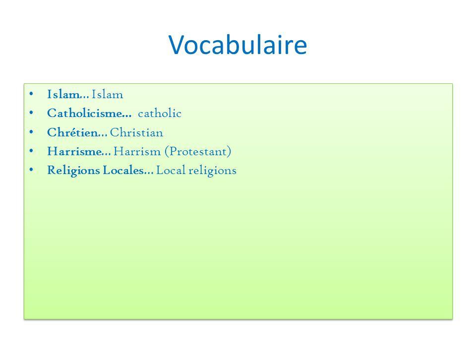 Vocabulaire Islam… Islam Catholicisme… catholic Chrétien… Christian Harrisme… Harrism (Protestant) Religions Locales… Local religions Islam… Islam Cat
