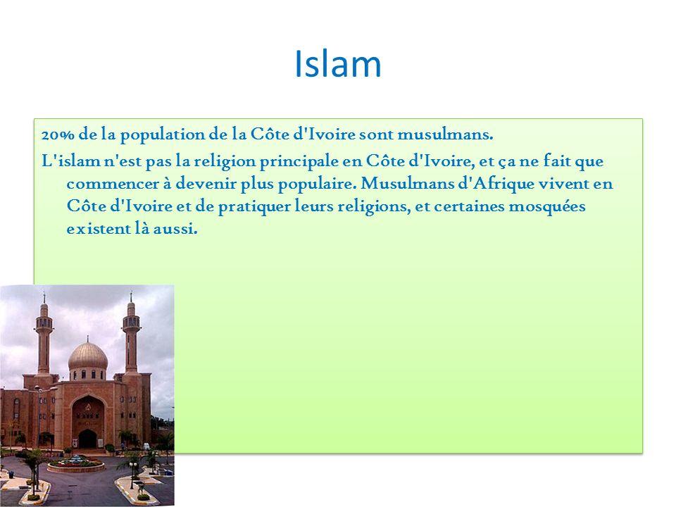 Islam 20% de la population de la Côte d'Ivoire sont musulmans. L'islam n'est pas la religion principale en Côte d'Ivoire, et ça ne fait que commencer