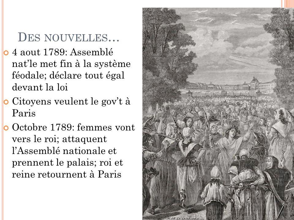 D ES NOUVELLES … 4 aout 1789: Assemblé natle met fin à la système féodale; déclare tout égal devant la loi Citoyens veulent le govt à Paris Octobre 1789: femmes vont vers le roi; attaquent lAssemblé nationale et prennent le palais; roi et reine retournent à Paris
