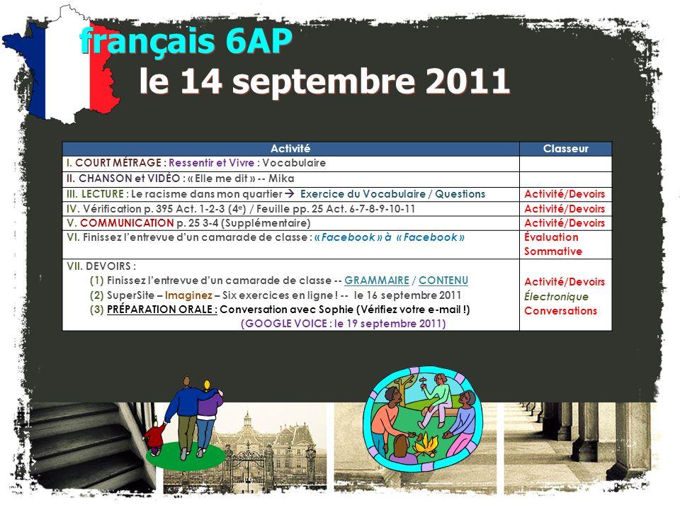 français 6AP le 14 septembre 2011 ActivitéClasseur I.