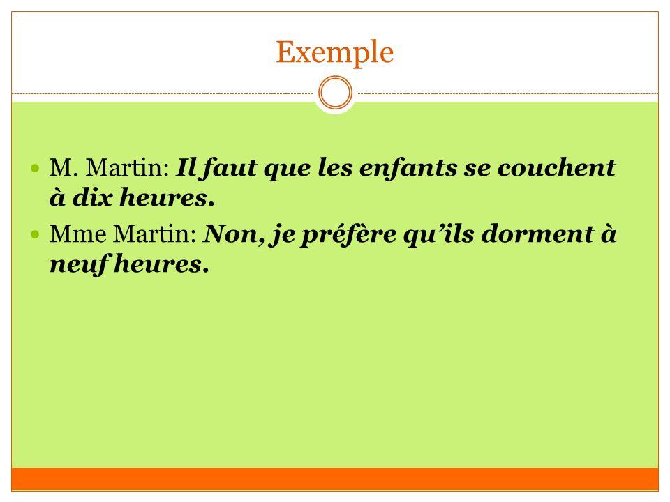 Exemple M. Martin: Il faut que les enfants se couchent à dix heures.