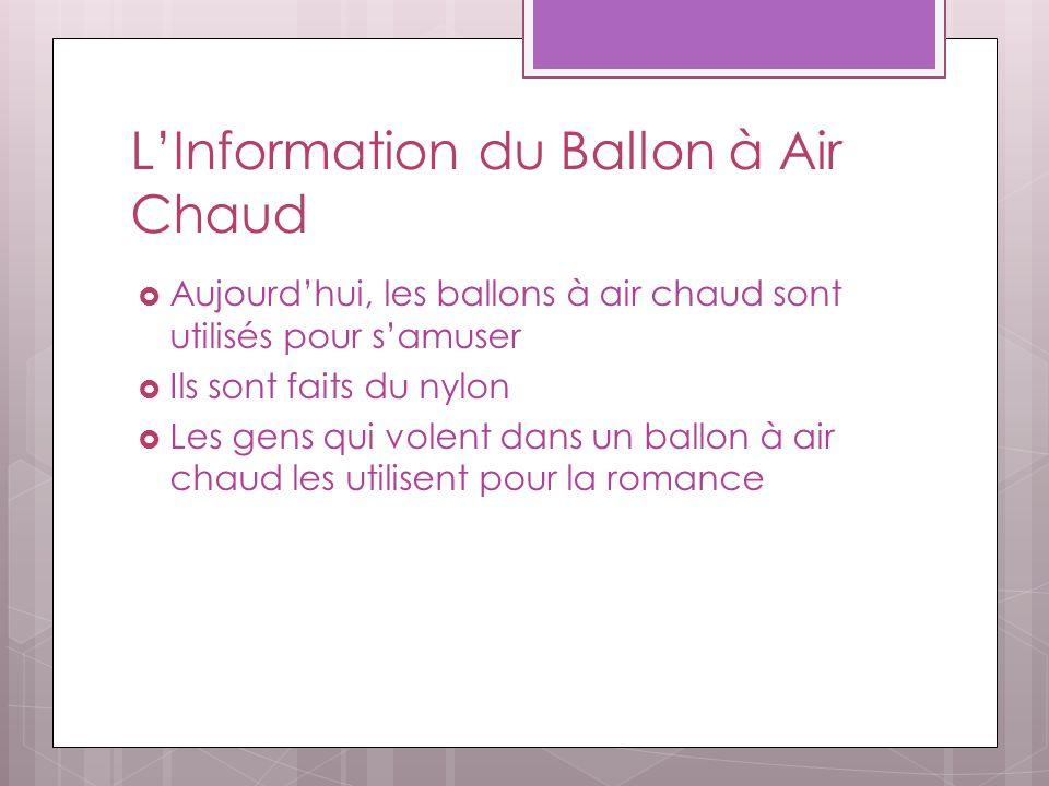LInformation du Ballon à Air Chaud Aujourdhui, les ballons à air chaud sont utilisés pour samuser Ils sont faits du nylon Les gens qui volent dans un ballon à air chaud les utilisent pour la romance