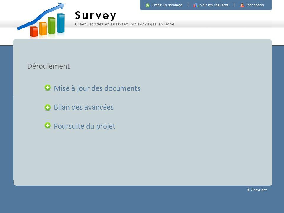 Mise à jour des documents Bilan des avancées Poursuite du projet Déroulement
