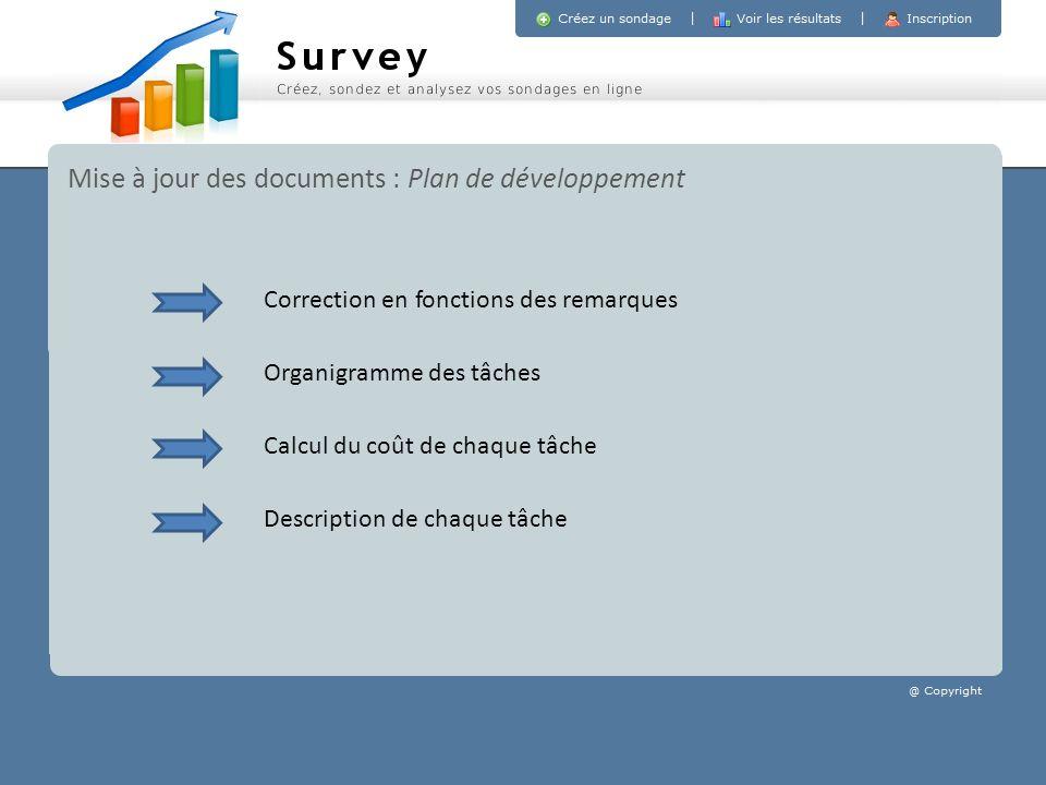Mise à jour des documents : Plan de développement Organigramme des tâches Calcul du coût de chaque tâche Description de chaque tâche Correction en fon