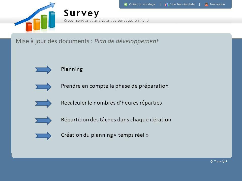 Mise à jour des documents : Plan de développement Prendre en compte la phase de préparation Recalculer le nombres dheures réparties Répartition des tâ