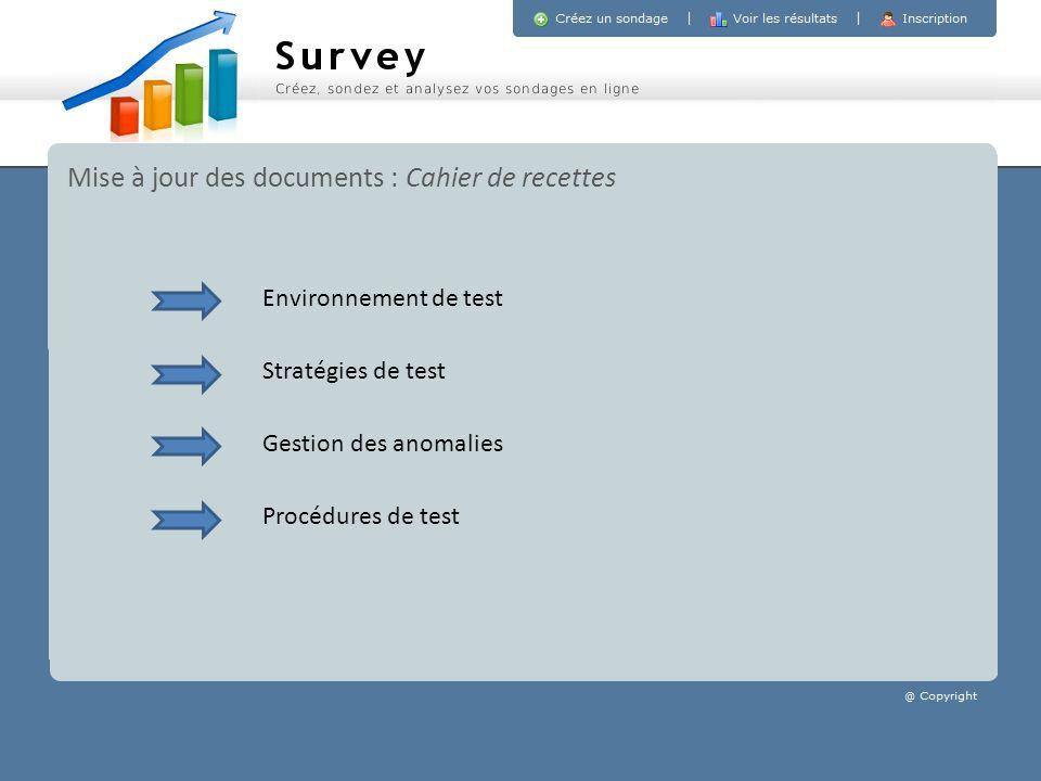 Mise à jour des documents : Cahier de recettes Stratégies de test Gestion des anomalies Procédures de test Environnement de test