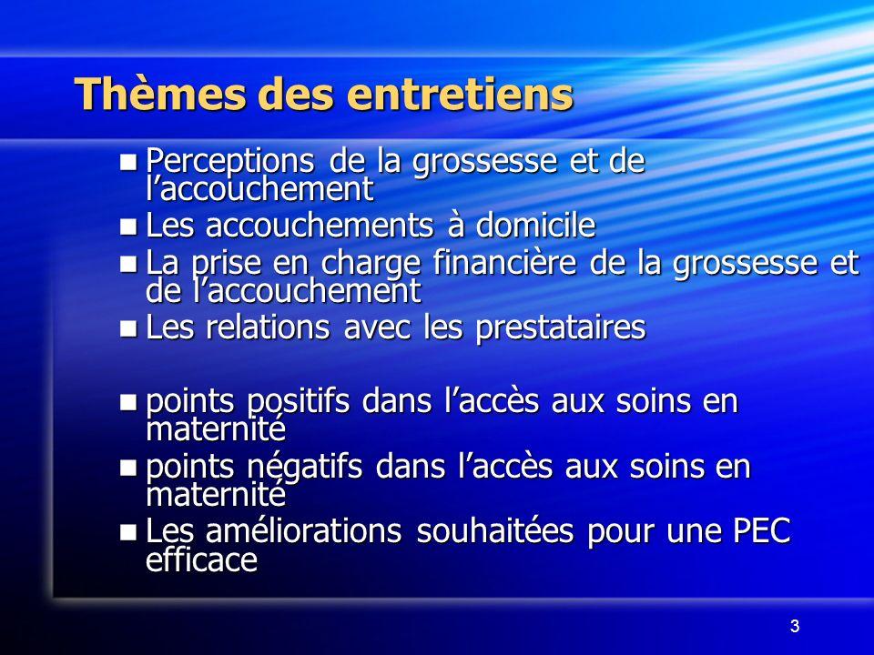 3 Thèmes des entretiens Perceptions de la grossesse et de laccouchement Perceptions de la grossesse et de laccouchement Les accouchements à domicile L